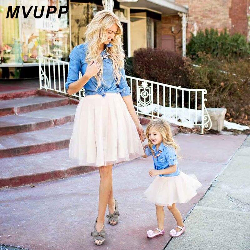 Mutter tochter kleider Familie Passenden Kleidung Anzug Denim Hemd röcke 2 stücke Mama und mich sets zwei-stück baby mädchen mom kleid