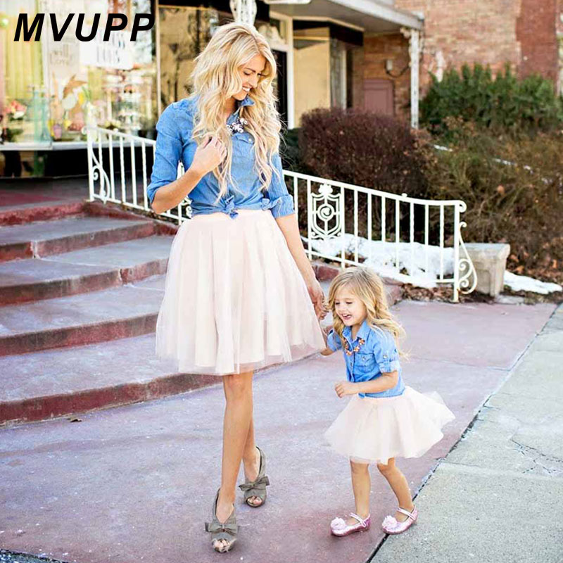 Mother Daughter Dresses Family Matching Clothes Suit Denim Shirt Skirts 2pcs Mommy And Me Sets Two-piece Baby Girl Mom Dress