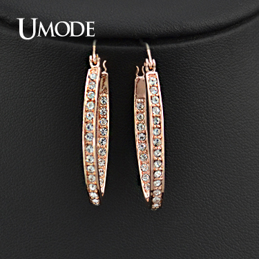UMODE Rose Gold Color Rhinestones Studded Oval Hoop Earrings For Women JE0194A e037 women s fashionable rhinestone studded pendant earrings gold green pair