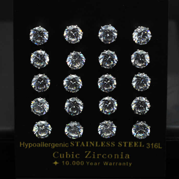 LUXUKISSKIDS 10pairs/lot Small Stud Earrings Set  2019 Size 3mm To 10mm Round Zircon 316L Stainless Steel Earring Set For Women
