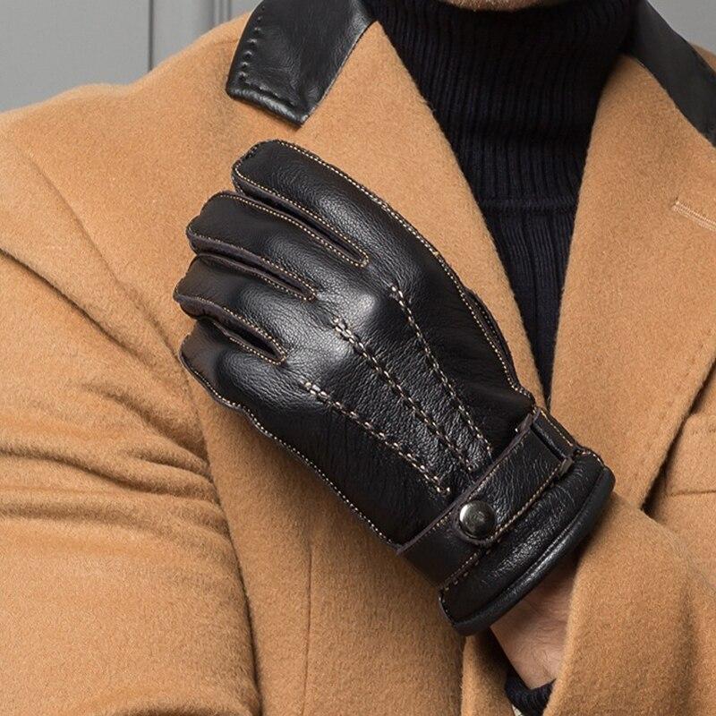 Maschio Guanti In Pelle di Alta Qualità Degli Uomini Short Classic Design Nero Palestra Luvas Auto di Guida Guanti Per Uomo Inverno Caldo Velluto guanti