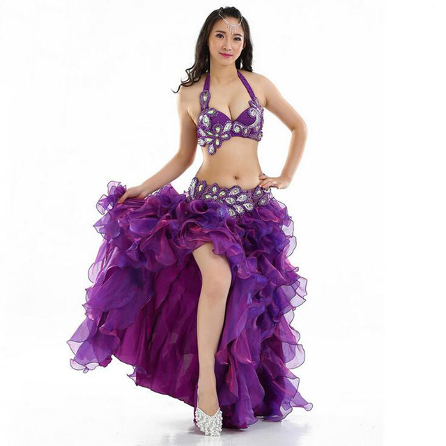 943647b15e114 Sexy Stage Performance Sets Plus size Luxury Belly Dance Egyptian Costumes  Oriental Style Rhinestones Bra Belt Skirt 2pcs 3pcs