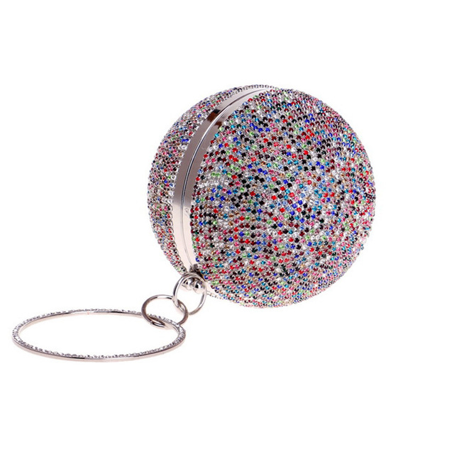 New Arrival Women Evening Clutch Bags Full Crystal Diamonds Round Shaped Clutch Lady Handbag Wedding Purse with Chain Shoulder Bag