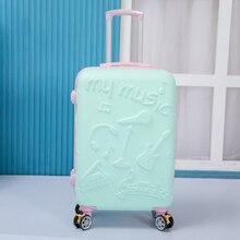 Travel-Bag Case Rolling-Luggage Cute Trolley Hard Women Abs 20-24--Inch