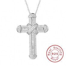 New 925 Silver Exquisite Bible Jesus Cross Pendant Necklace for women men Crucifix Charm Simulated Platinum Diamond Jewelry N028 cheap choucong 925 Sterling Zircon slide Fine DMRJS011 Classic CRYSTAL Pendants Other s925 40+5cm SONA Diamond Necklace Girl Necklace