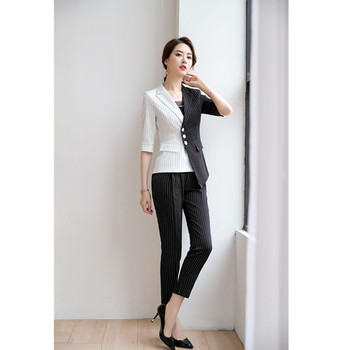 White black color matching suit jacket striped suit jacket blouse and pants elegant suit half sleeve stitching jacket