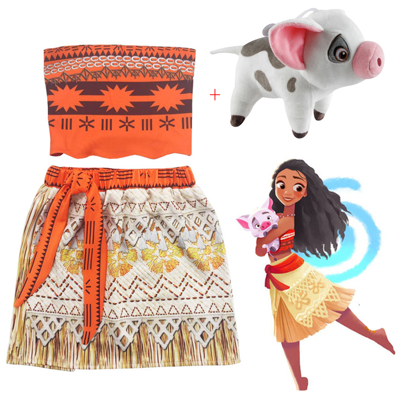 Baby girl Princess dress Moana Cosplay clothes for Children Vaiana Girls Party Wedding dresses with Necklace Pet Pig CostumesBaby girl Princess dress Moana Cosplay clothes for Children Vaiana Girls Party Wedding dresses with Necklace Pet Pig Costumes
