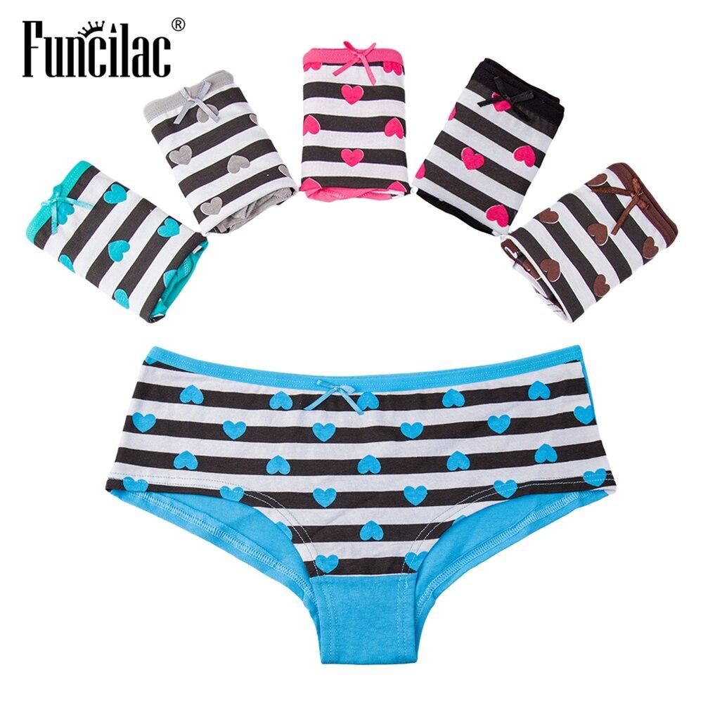 FUNCILAC Sexy Women's   Panties   Cotton Female Underwear Lingerie Striped Briefs Girls Bow Shorts Intimate Underpants 5 pcs/set