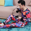 Winter Fleece Thermal Underwear For Men Printed Added Wool Thermo Underwear Man Long John Set O