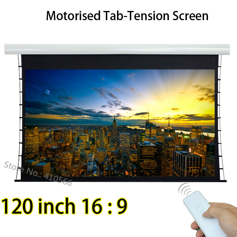 Durable Home Cinema Projection Screen 120 Inch 16:9 Tab Tension Projector Screens With Tubular Motor 12V Trigger luxury motorized electric tab tension 139inch 16 10 matte white home theater high quality cinema projector screen
