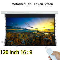 Durable Home Cinema Projection Screen 120 Inch 16:9 Tab Tension Projector Screens With Tubular Motor 12V Trigger
