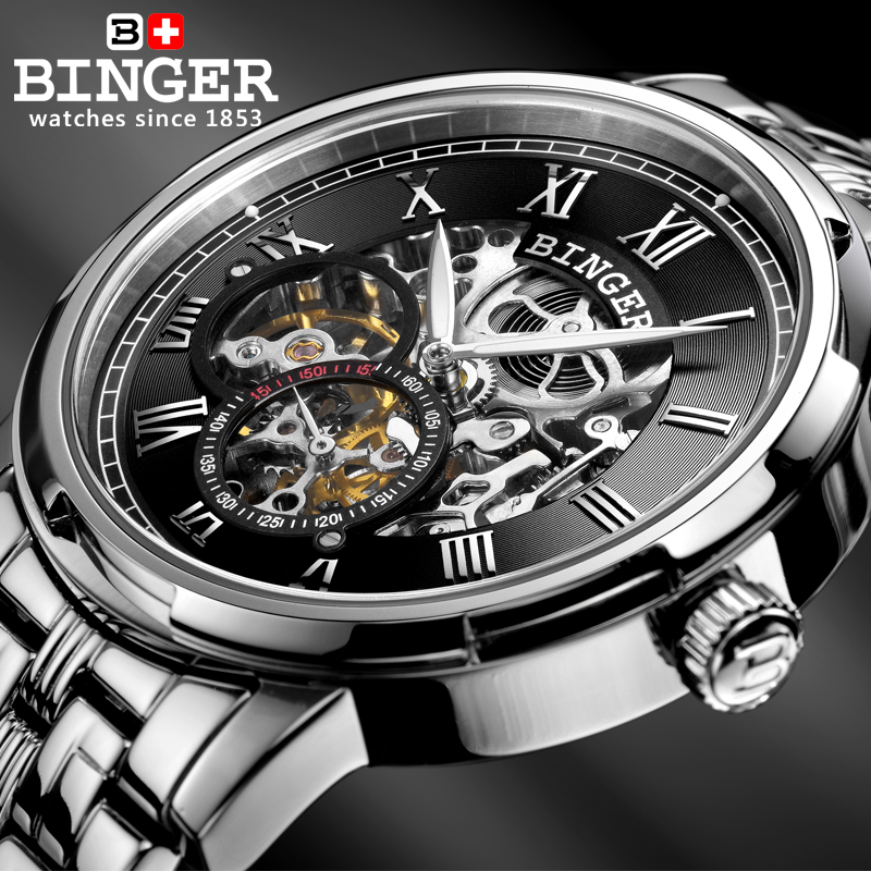 fcf8c528d60 Mechanical Luxury Skeleton Watches BINGER Automatic Watch Relogio Male  Montre Watch Mens Relojes 3ATM Stainless Steel Strap