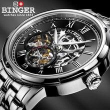 Esqueleto de Lujo mecánico Reloj Relogio Masculino Montre Relojes BINGER Automático Reloj Para Hombre Relojes Correa de Acero Inoxidable 3ATM