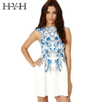 HYH HAOYIHUI Mode Bleu Blanc Porcelaine Imprimer A-ligne Robe Sans Manches Sexy Zipper Mini Robe Élégante Robe De Style Chinois