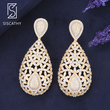 SISCATHY Luxury Hollow Waterdrop Big Statement Earrings for Women Cubic Zirconia Bridal Wedding Engagement Drop Dangle Earrings недорого