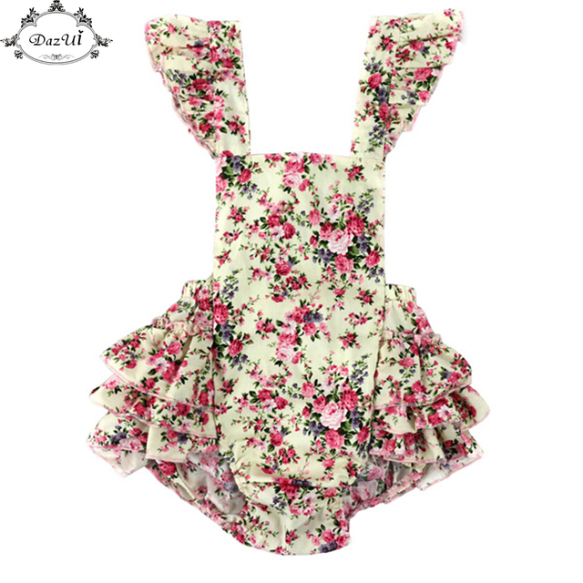 40c9ec2321cb Vintage Summer Woven Floral Baby Bubble Romper Flutter Sleeve Ruffle ...