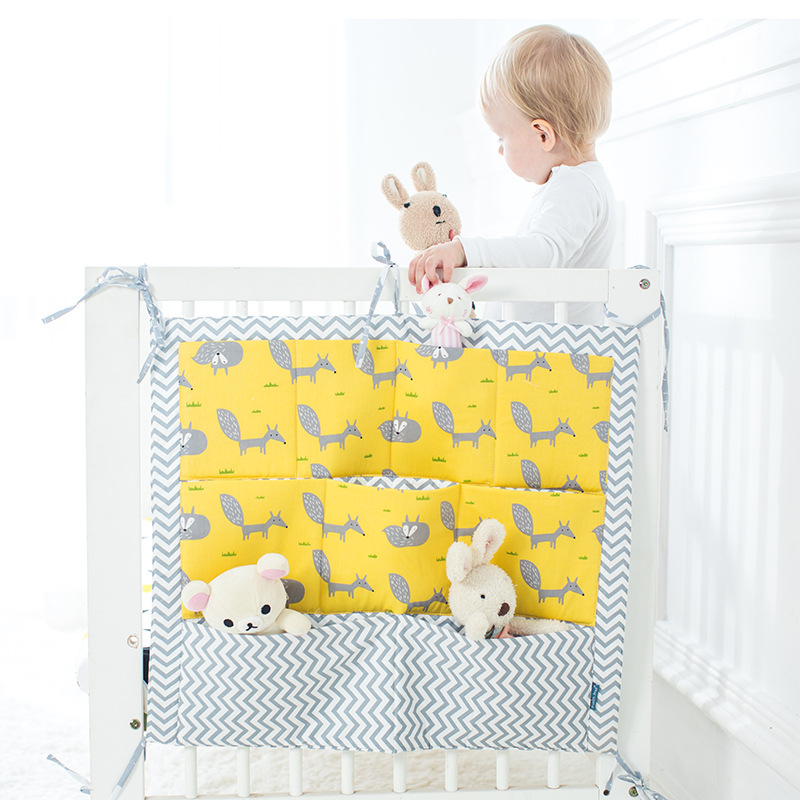 50*60cmBed Hanging Storage Bag Baby Cot Bed Brand Baby Cotton Crib Organizer Toy Diaper Pocket For Crib Bedding Set