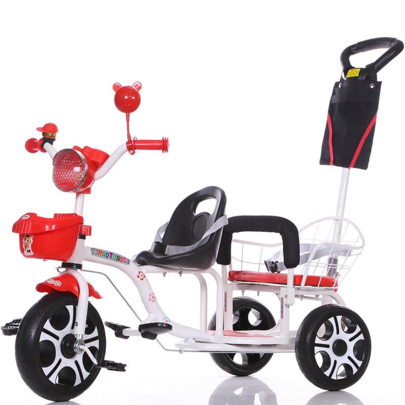 12-дюймовый детский трехколесный велосипед, близнецы велосипед ребёнка выпуска 2 сиденья со складками на педаль тандем трехколесный велосипед с резиновая надувная подушка безопасности для колеса и стальная рама - Цвет: 150