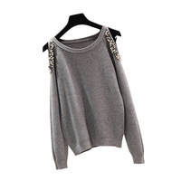 Rlyaeiz Fashion 2 Style Sweater Women 2018 Spring Autumn Beading Strapless Shoulder Knitwear Pullover Woman Knitted Sweaters