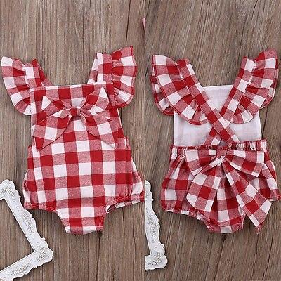 Nuovo Modo di Stile Britannico Plaid Rosso Neonate Tuta Tuta Plaid Indietro Croce Manica Corta Neonate Vestiti Rosso 0-18 M 2