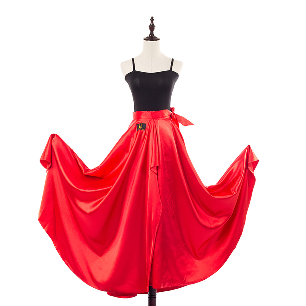 2017 New Latin Dance Skirt Hip Scarf Red Satin One Size Cape Salsa Rumba Ballroom Competition Cow Boy Skirt For Women DW1126