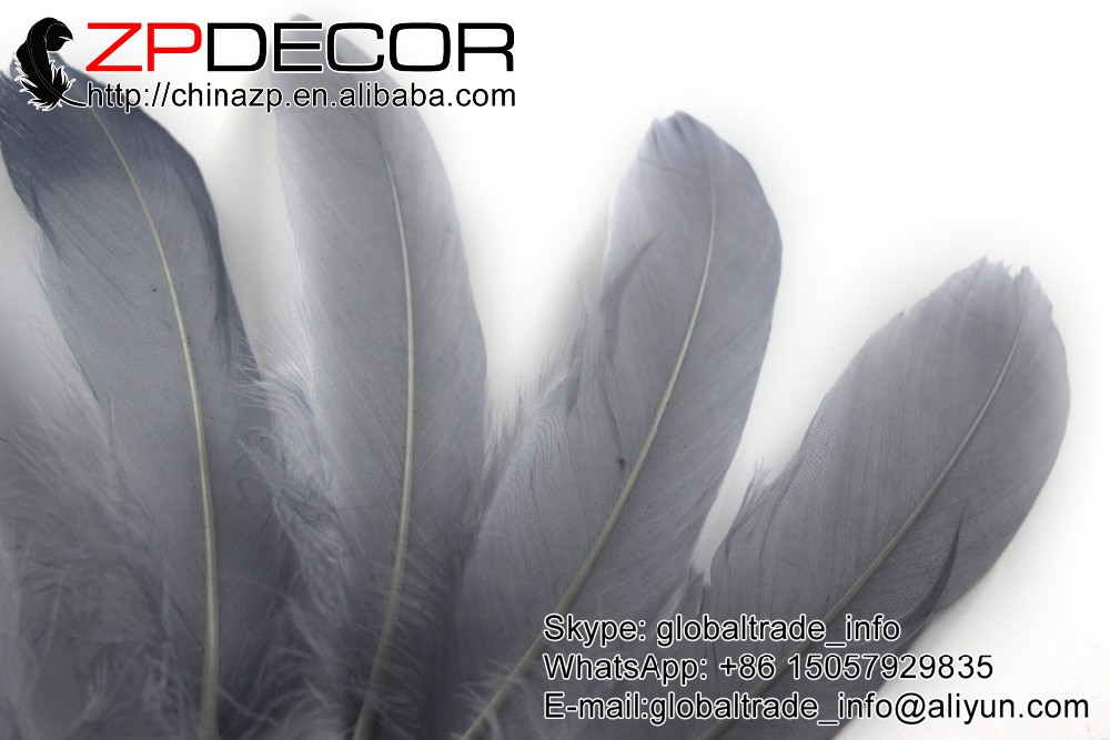 Goose Feathers, 1 4 lb - GREY Goose Satinettes Loose Feathers (bulk) (7)