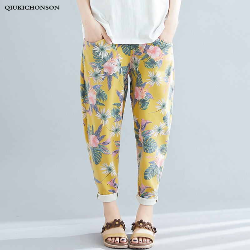 Spring Summer Literary Fresh Flower Print Yellow Pants Women Elastic Waist Jeans Casual Loose Harem Pants Plus Size Trousers