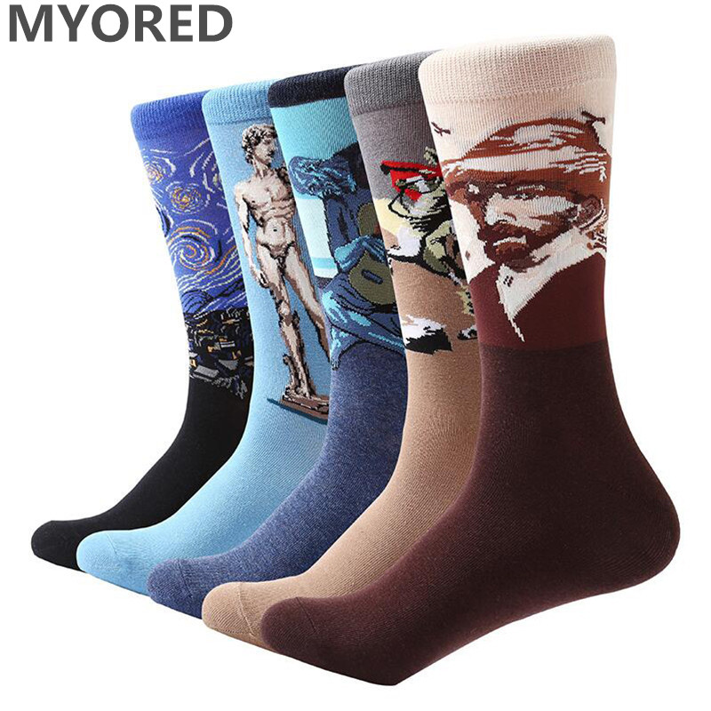 MYORED 5 pair/lot men socks Colorful Van Gogh Retro Oil Painting cotton crew socks mens casual dress wedding gift party socks