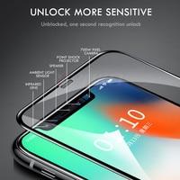 Vidro de proteção de borda curvada 100D no para iPhone 7 8 6 6s Plus Protetor de tela temperado para iPhone 11 Pro X XR XS Max Glass 1