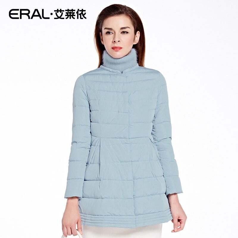 ERAL Womens 2016 Winter Slim Medium-long Down Coat Knitted Collar Spliced Retro Thickening Down Jacket ERAL16065-EDAC