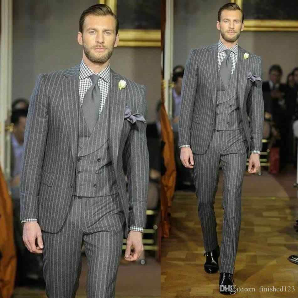 New Design Gray Stripe Groom Tuxedos Groomsmen Best Man Suits Mens Wedding Blazer Suits (Jacket+Pants+Vest+Tie)