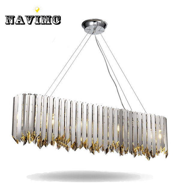 Modern Gold Silver Stainless Steel Rectangular Pendant Light For Dining Room Restaurant Bar Post