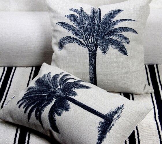 Mediterranean Printed Palm Trees Pillowcase Linen Cushion Decorative Pillows Home Decor Throw Pillow Back Cushions For Office