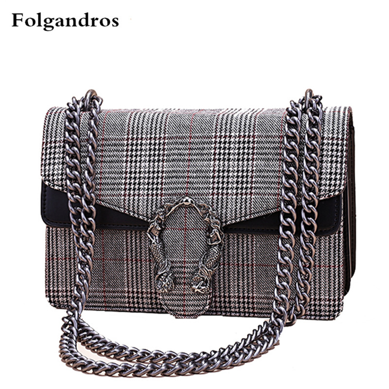 Plaid Stripe Wool Big Brand Famous Design Luxury Bag Women Shoulder Messenger Bag Lady Chain Handbag Crossbody Bag Real Pictures denim vintage quilted across bag women s blue jean plaid stylish brand fashion flap chain crossbody shoulder bag purse handbag