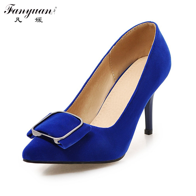 ФОТО Elegant Female Pumps 2017 Spring Autumn Women Working High Heels Luxury Flock Slip-on Black Red Pointed Toe Sexy Wedding Shoes