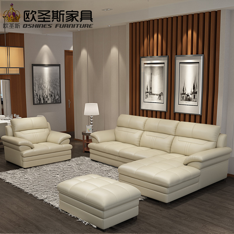 2019 New Design Style Italy Modern Leather Sofa Sectional Corner Soft Comfortable Livingroom Genuine Real Leather Sofa Set 660