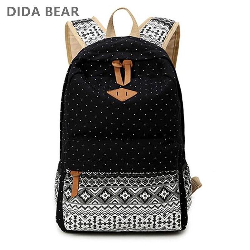 Sacs à dos en toile pour femmes sac à dos mode Dot sacs d'école pour adolescentes filles grand sac à dos de voyage