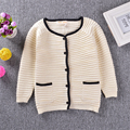 2017 Black White Patchwork Girls Sweaters Fashion Casual Brand Children Girl Cardigan Long Sleeve O-neck Cotton Knitted Sweaters