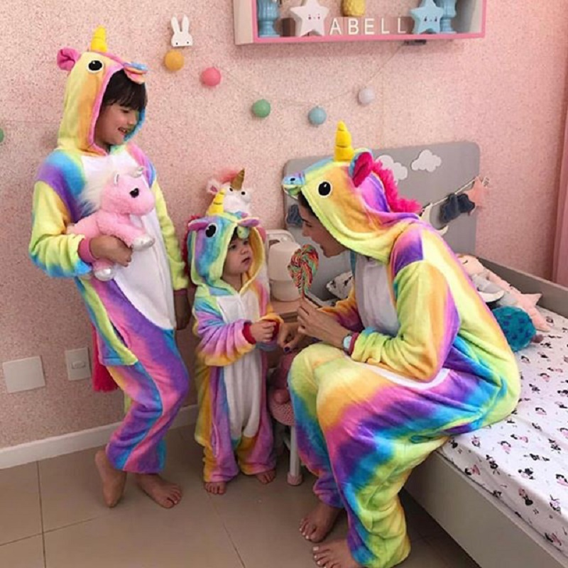 Kigurumi Women Unicorn Pajamas Kids For Mom And Me Family Pyjamas Winter Flannel Nightie Animal Onesies Couple Stitch Sleepwear