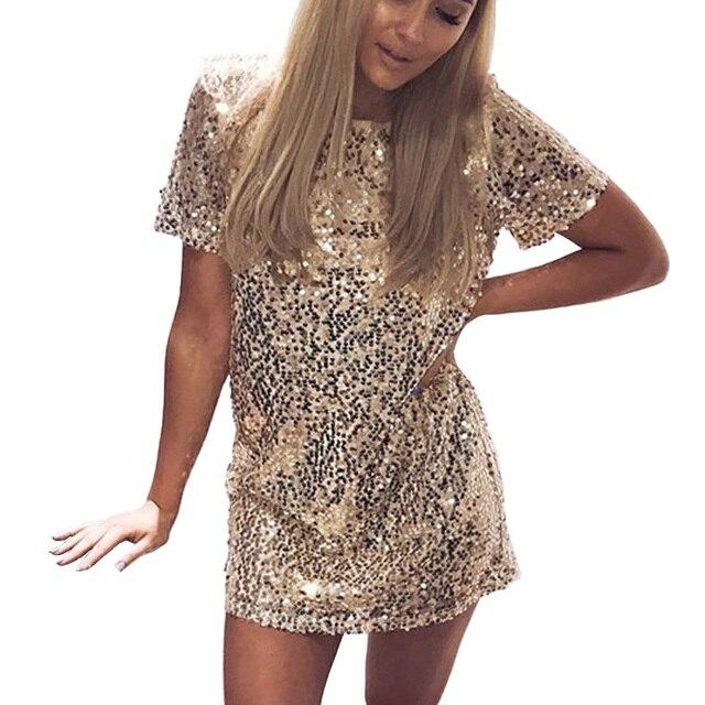 474bdb94996 Блестки Золотое Платье 2017 летнее женское сексуальное короткое платье- футболка вечернее элегантное Клубное платье