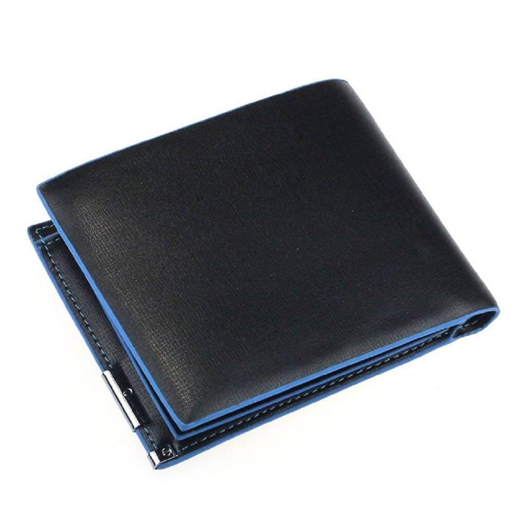 Man Wallet Card Leather Bag Pockets Bifold Money Clip (Black + Blue)