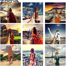 ZOOYA DIY Needlework Diamond Painting Full Drill Hand In Couple Travel Pictures The Embroidery Mosaic Pattern R587