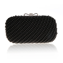 Trend New Prime Pearls Night Baggage Black beaded Clutch wedding ceremony ceremony bridal clutches celebration dinner purse chains purse