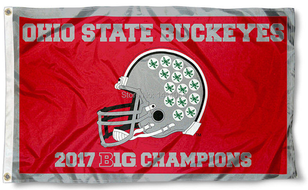Ohio State Buckeyes 2017 Big Ten Champions Flag NCAA 3X5FT Banner 100D Polyester grommets custom flag,free shipping
