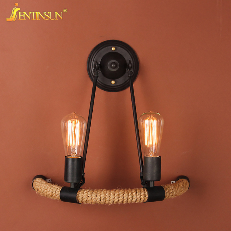 Nordic Style Retro Semicirc Hemp Rope LED Wall Lamp E27 Bulb Vintage Home Fixture Indoor Lighting Sconce Bar Restaurant Light top grade wood handcrafted swing arm light sconce led wall lamp nordic style home decoration lighting e27 black with switch