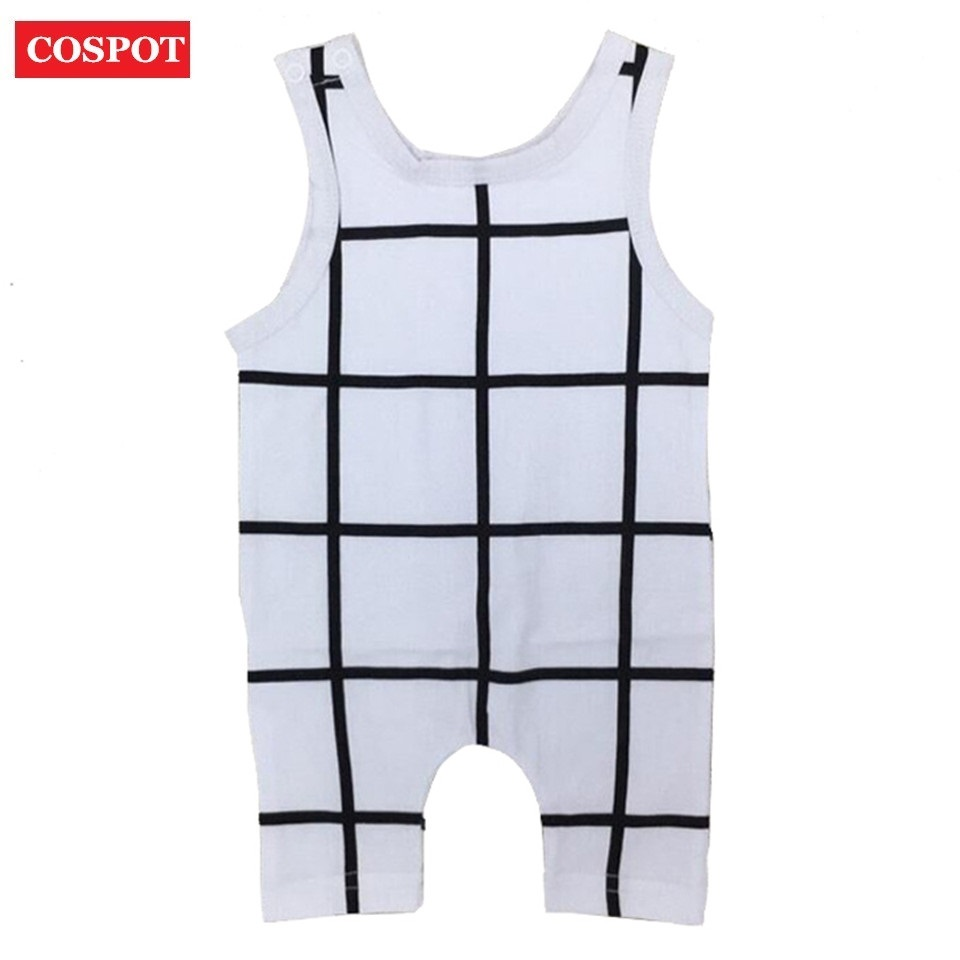 COSPOT Baby Boys Sleeveless Romper Infant Knee Length Jumpsuit Newborn Pajamas Boy Summer Plaid Jumper 2018 New Arrival 40