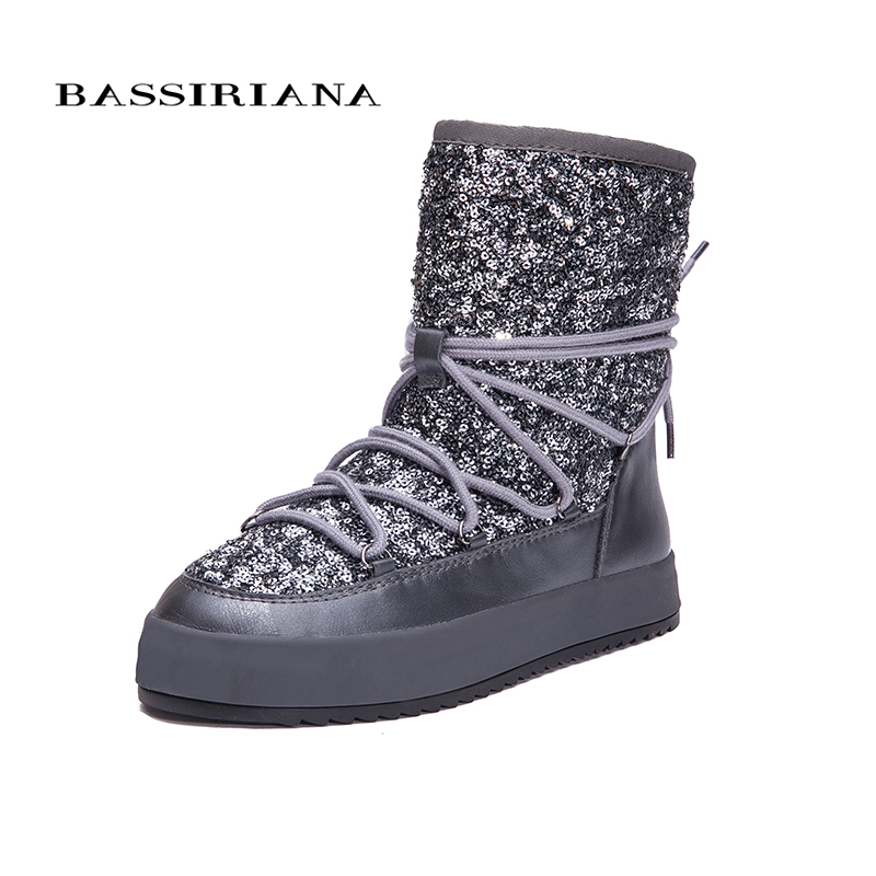 BASSIRIANA New 2017 Women Winter Shoes Suede Genuine Leather Lacing Ankle Boots Heels Platform Wedge Height Increasing For Woman women s genuine suede leather hemp wedge platform slip on autumn ankle boots brand designer leisure high heeled shoes for women