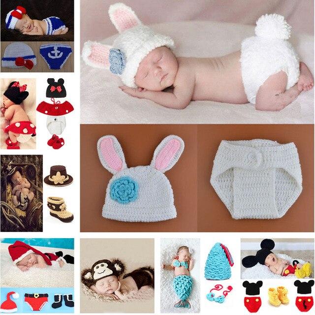Новорожденный Ребенок Кролик Вязаная Шапка Одежда Набор Новорожденных Шапочки Фотография Опора Костюм Младенческой Крючком Костюм Установить MZS-15019-J