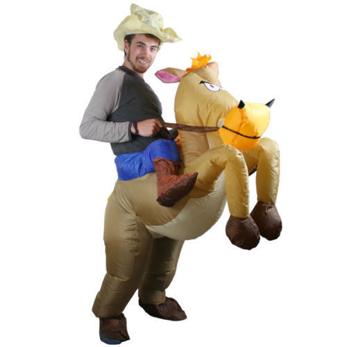 Adult Inflatable Horse Riding Suit Cowboy Cosplay Fancy Dress Costume Stag Hen Night For Halloween Carnival Christmas