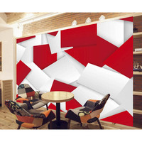Modern Home Decoration Custom 3D Printing Wallpapers Red White Background Living Room Mural Papel 2016 New